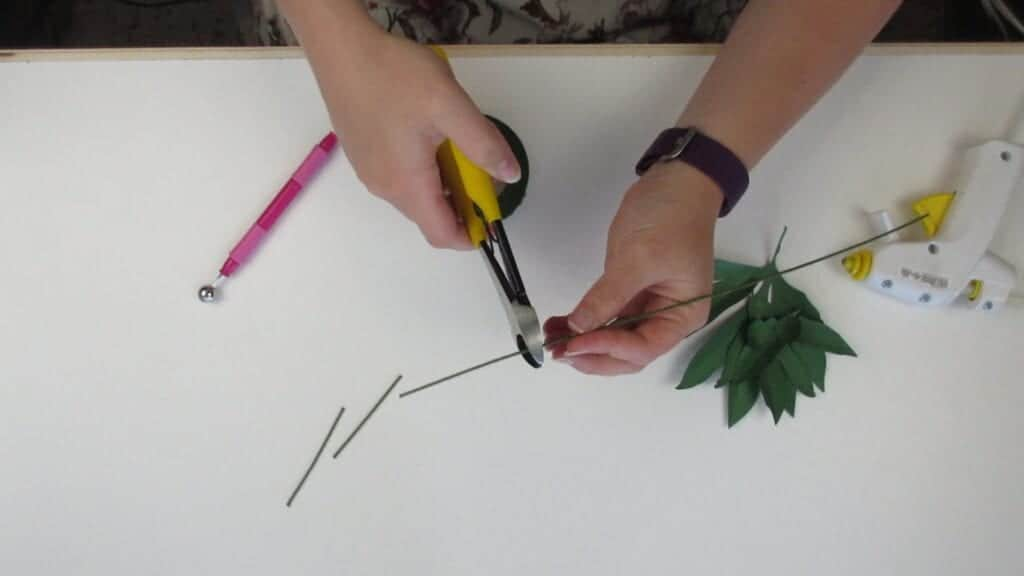 cutting the wire for the leaves