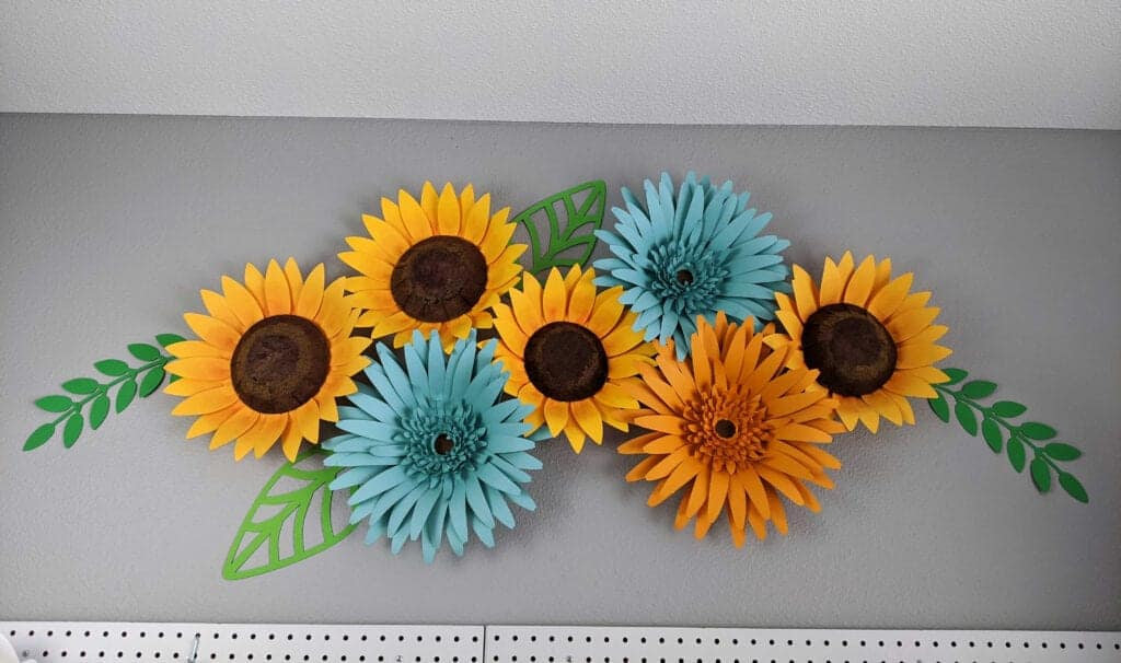 Giant paper sunflower and gerbera daisy