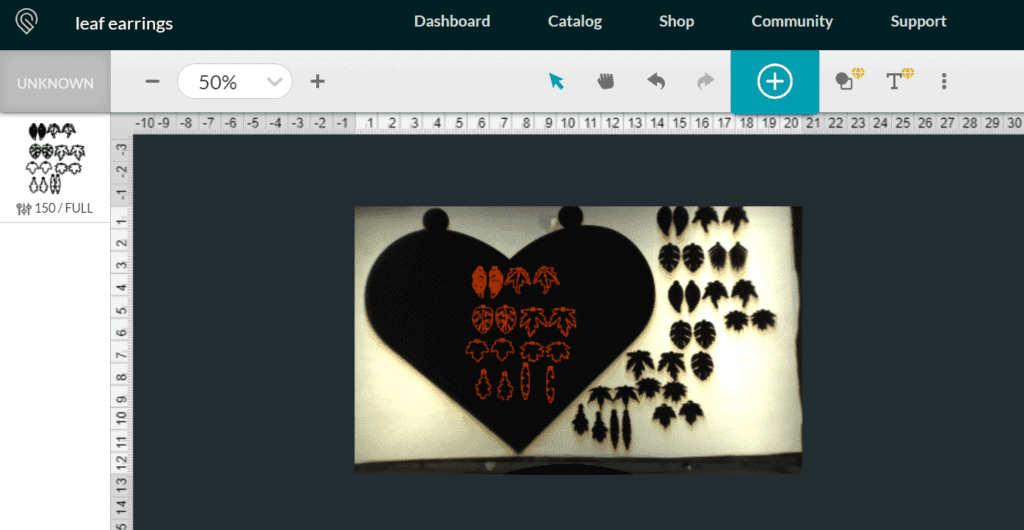 Setting for cutting the leaf earring svgs