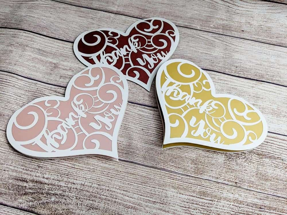 heart shaped thank you card svg file